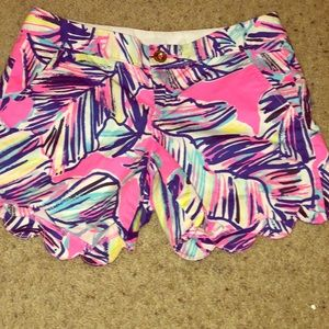 Lilly Pullitzer buttercup scalloped shorts.